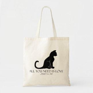 Allt som du behöver, är kärlek och en katt! tygkasse