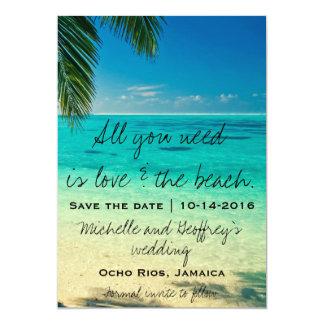 Allt som du behöver, är kärlek & strandsparan 12,7 x 17,8 cm inbjudningskort