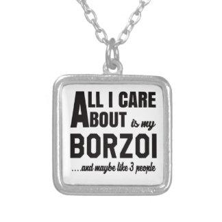 Allt som jag att bry sig, är omkring min Borzoi. Halsband Med Fyrkantigt Hängsmycke