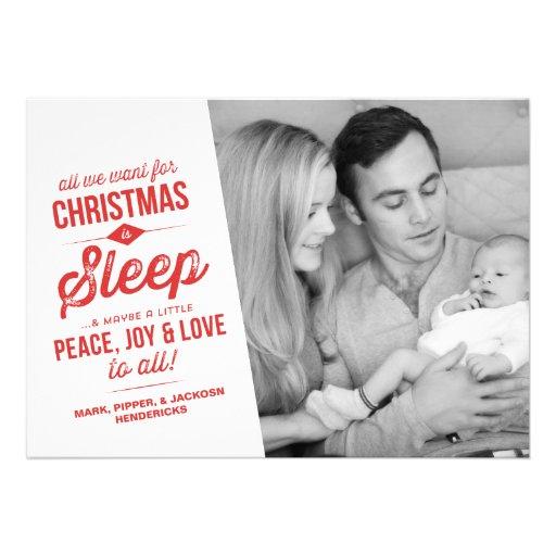Allt som vi önskar för jul, är fotokortet för sömn personliga tillkännagivande