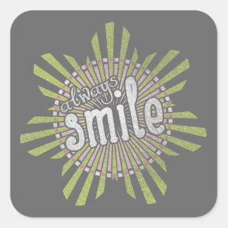 Alltid leende fyrkantigt klistermärke
