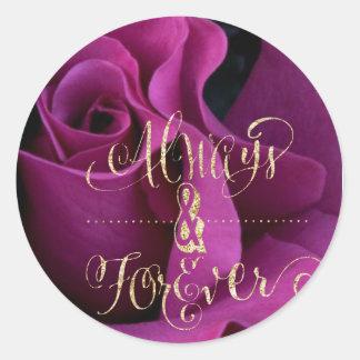 Alltid och för evigt som gifta sig klistermärkear runt klistermärke