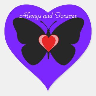 Alltid och för evigtfjäril hjärtformat klistermärke