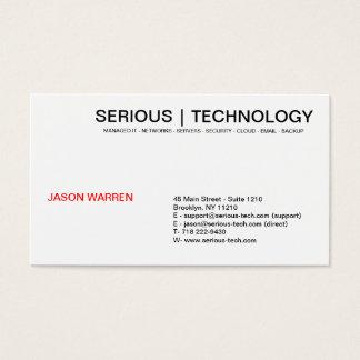 ALLVARLIG   TEKNOLOGI, JASON WARREN, huvudsaklig Visitkort