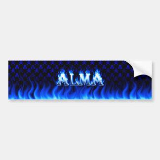 Alma blått avfyrar och flammar bildekaldesign bildekal