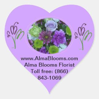 Alma blommar den purpurfärgade buketten hjärtformat klistermärke