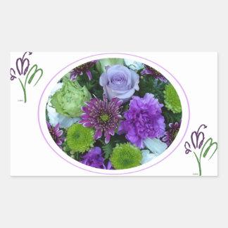 Alma blommar den purpurfärgade buketten rektangulärt klistermärke