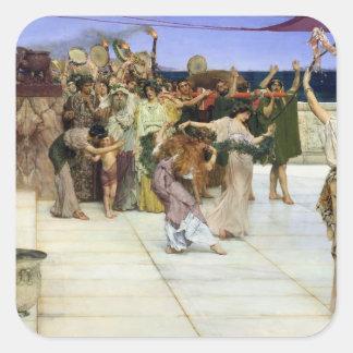 Alma-Tadema |A dedikation till bacchusen Fyrkantigt Klistermärke