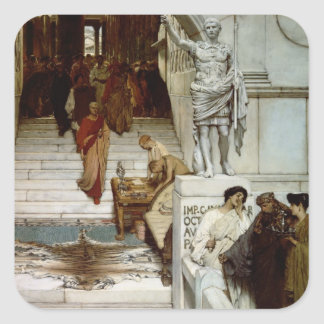 Alma-Tadema | åhörare på Agrippas, 1875 Fyrkantigt Klistermärke