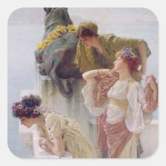 Alma-Tadema | en Coign av fördelen, 1895 Fyrkantigt Klistermärke