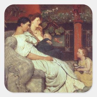 Alma-Tadema | en romersk familj, 1867 Fyrkantigt Klistermärke