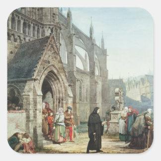 Alma-Tadema | Faust och Marguerite, 1857 Fyrkantigt Klistermärke