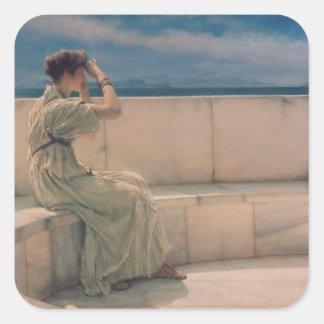 Alma-Tadema | förväntningar, 1885 Fyrkantigt Klistermärke