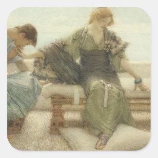 Alma-Tadema | frågar mig inte mer, 1886 Fyrkantigt Klistermärke