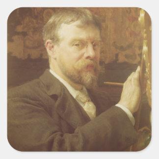 Alma-Tadema | självporträtt, 1897 Fyrkantigt Klistermärke