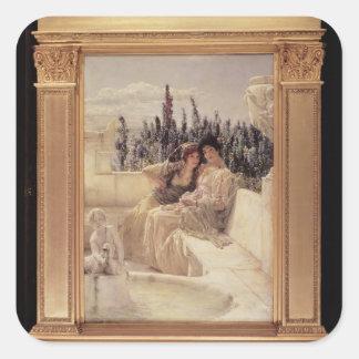Alma-Tadema | viska middag, 1896 Fyrkantigt Klistermärke
