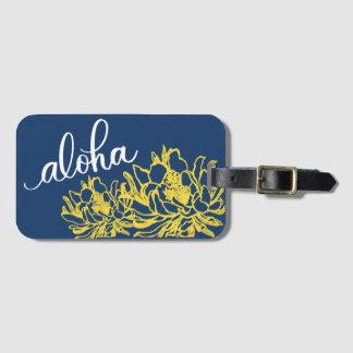 Aloha blommar gul Cereus för blått bagagemärkre Bagagebricka