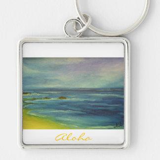 Aloha Kai Fyrkantig Silverfärgad Nyckelring