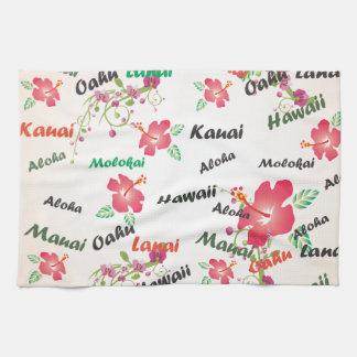 aloha kauai, hawaii, oahu, maui, lanaibakgrund kökshandduk