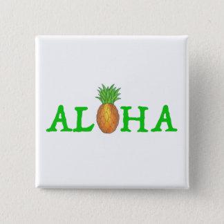 ALOHA knäppas hawaiansk ananas för den tropiska ön Standard Kanpp Fyrkantig 5.1 Cm