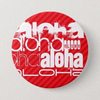 Aloha; Scharlakansröda röda randar Mellanstor Knapp Rund 7.6 Cm