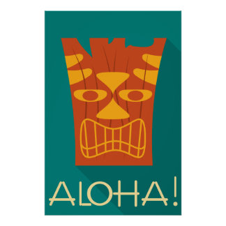 Aloha stam- hawaianska Tiki Poster