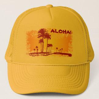 ALOHA Tropiacl strand med palmträd Keps