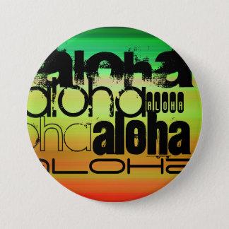 Aloha; Vibrerande grönt, orange & gult Mellanstor Knapp Rund 7.6 Cm