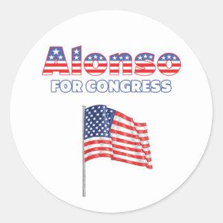 Alonso för patriotisk amerikanska flaggan för runt klistermärke