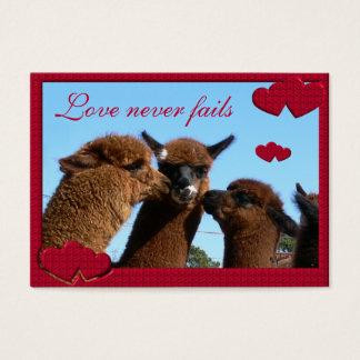 Alpacahjärtakärlek misslyckas aldrig valentines visitkort