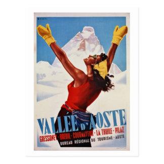 Alpernan för den retro vintern för vintage reser vykort