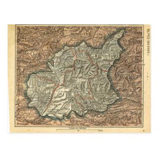 ALpes för vintagekartafrankriken baser Vykort
