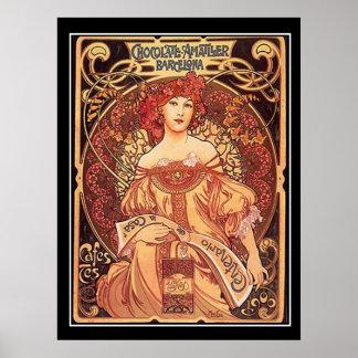 Alphons för chokladAmatller vintage affisch mucha Poster