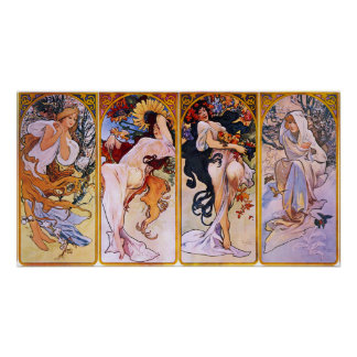 Alphonse Mucha affisch för fyra säsonger
