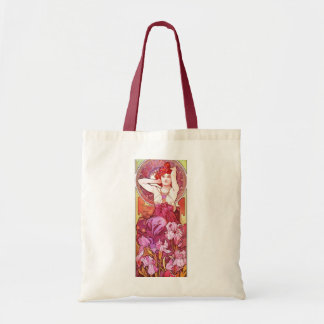 Alphonse Mucha Amethyst blom- vintageart nouveau Budget Tygkasse