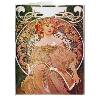 Alphonse Mucha dagdrömReverie Jumbo Kort
