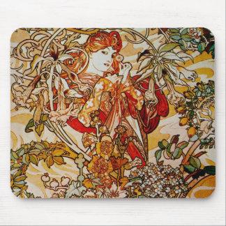 Alphonse Mucha - dam med en daisy Musmattor