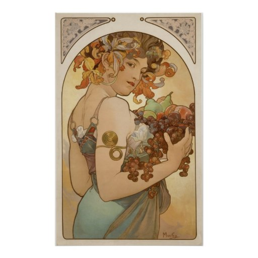 Alphonse Mucha - frukt - tryck Posters