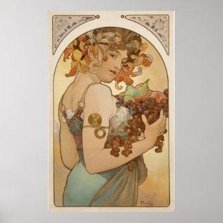 Alphonse Mucha - frukt - tryck Poster