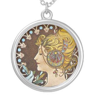 Alphonse Mucha konstverk Silverpläterat Halsband