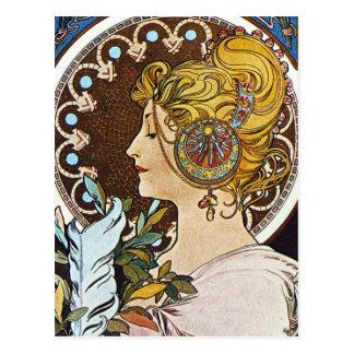 Alphonse Mucha konstverk Vykort