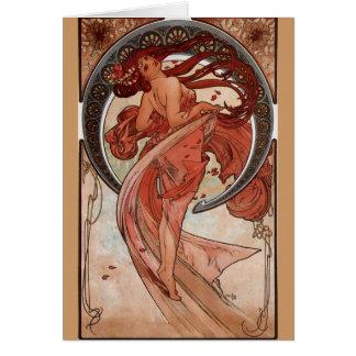 """Alphonse Mucha, kortet """", för den dans"""" art nouvea Hälsningskort"""