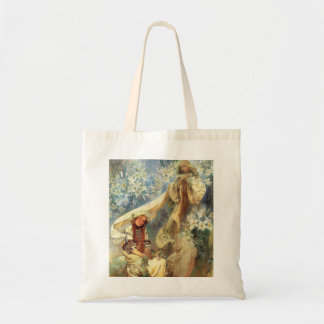 Alphonse Mucha Madonna av liljatotot hänger lös Tygkasse