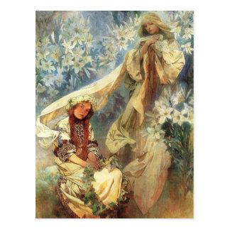 Alphonse Mucha Madonna av liljavykortet Vykort