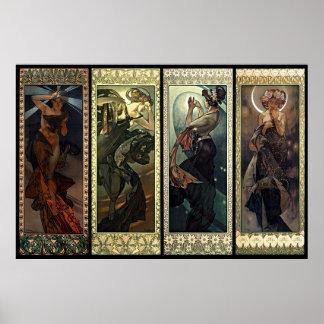 Alphonse Mucha månen och stjärnorna Poster