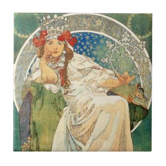 Alphonse Mucha Princess Hyacint Belägga med tegel Kakelplatta
