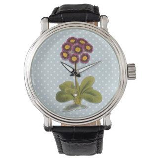Alpin Auriculablomma, purpurfärgad blommigt, polka Armbandsur