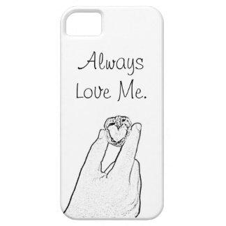 Älska alltid mig valnötfodral iPhone 5 Case-Mate skydd