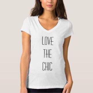 Älska den chic kvinna V-Nacke T-tröja Tee Shirt