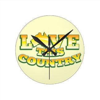 Älska detta land AUSTRALIEN! Rund Klocka